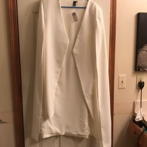 Long white cape blazer